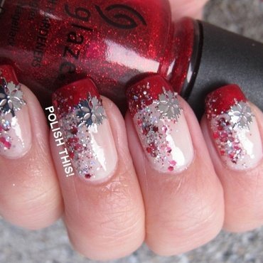 Christmas French nail art by Annie