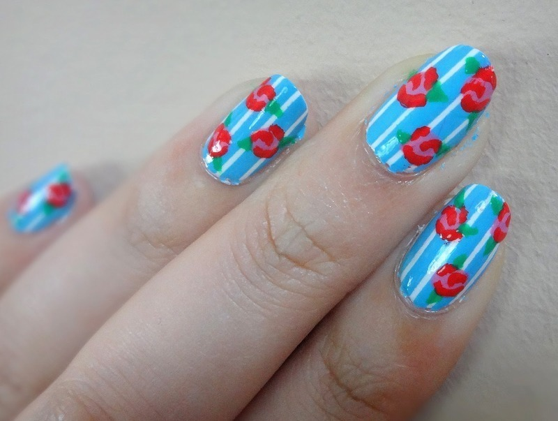 Cath Kidston florals nail art by Olivia McHale