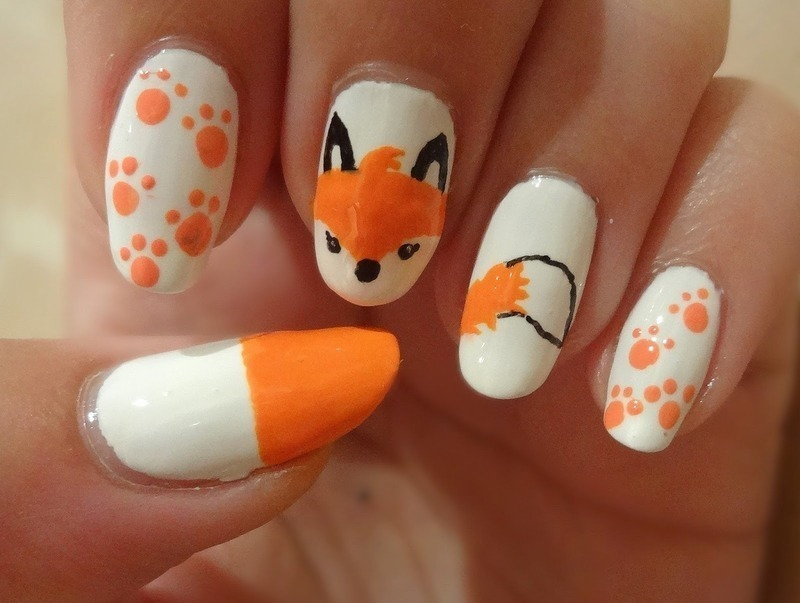 What does the fox say? nail art by Olivia McHale