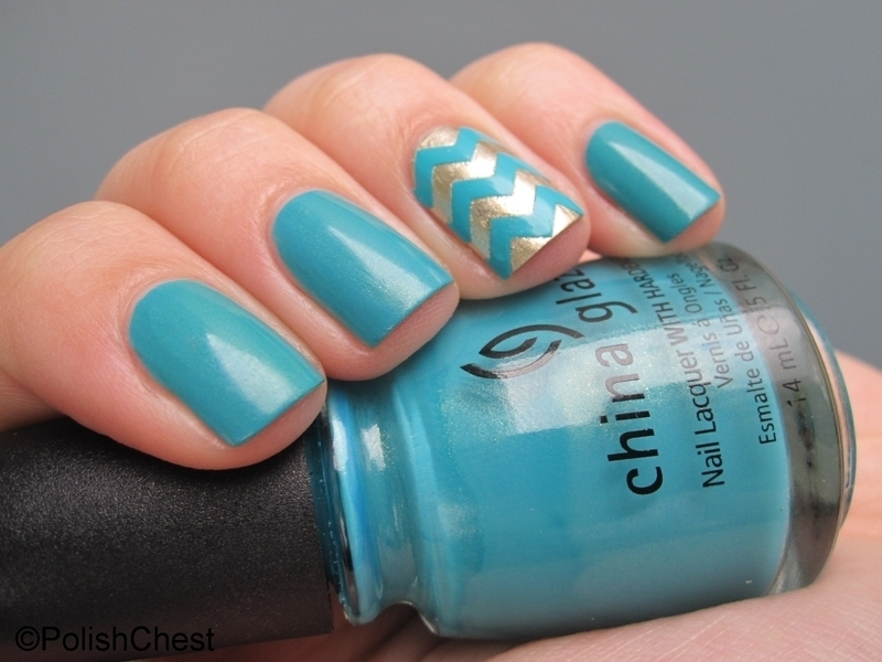 Golden Kicks Chevron nail art by Danny