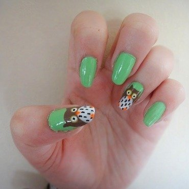 What a hoot! nail art by Olivia McHale