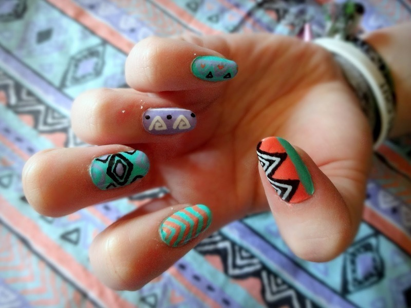 Jazzy tribal (shirt inspired) nail art by Olivia McHale