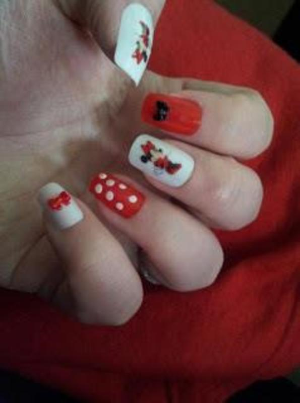 Minnie nails nail art by Tara Clapperton