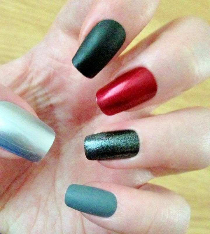 Red, black and grey nails  nail art by Tara Clapperton