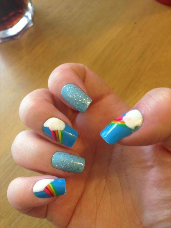 Cloud nails nail art by Tara Clapperton