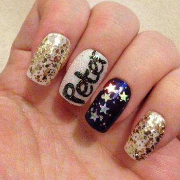 One hand of Peter Pan nails nail art by Tara Clapperton