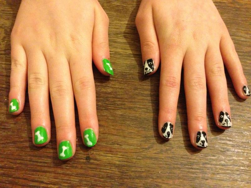 Dog and bone nail art nail art by Tara Clapperton