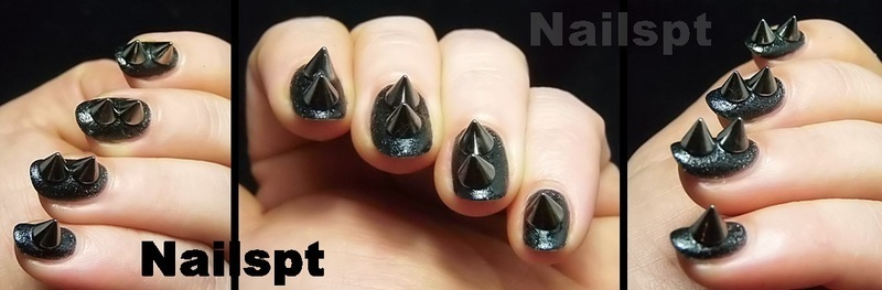 Leather and spikes nail art by Ana