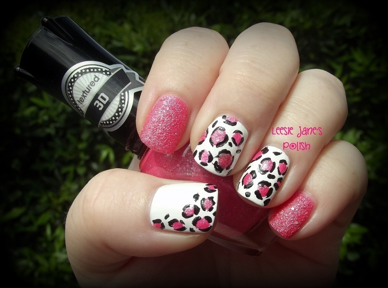 Textured Pink Leopard Print nail art by Lisa Overend