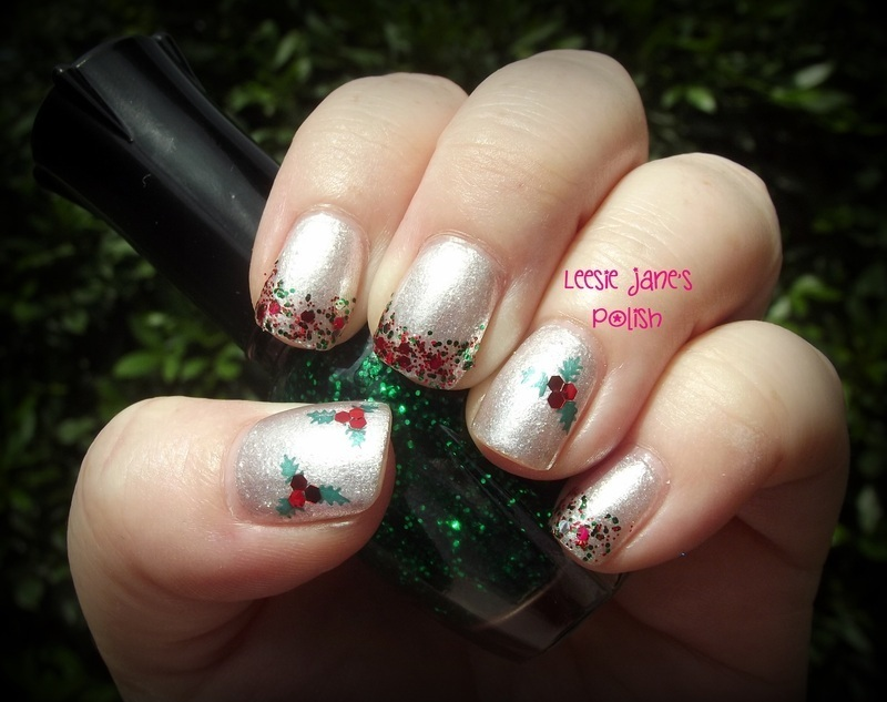 Elegant Holly Glitter Gradient nail art by Lisa Overend