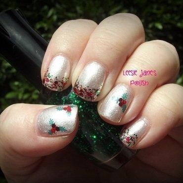 Elegant Holly Glitter Gradient nail art by Lisa Overend