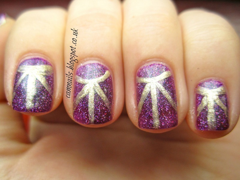 Sun Burst Half Moon nail art by Emma