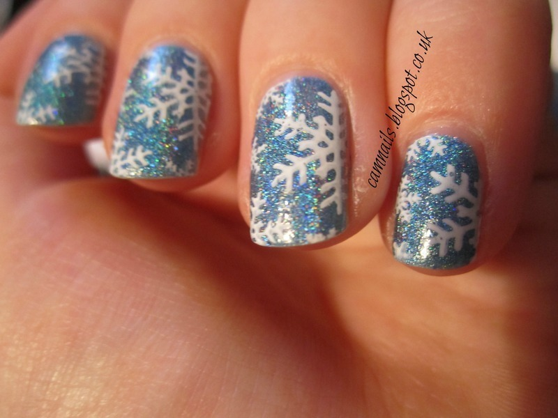 Holographic Snowflakes nail art by Emma