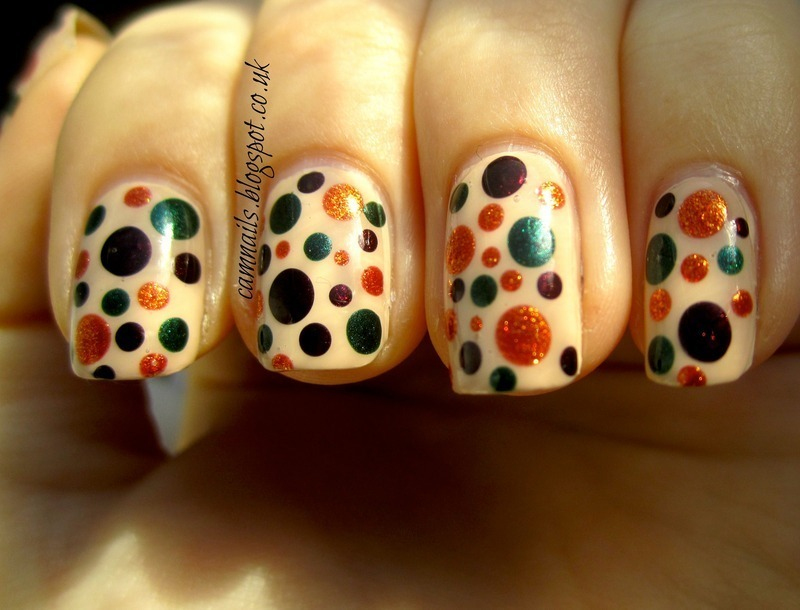 Autumnal Dotticure nail art by Emma