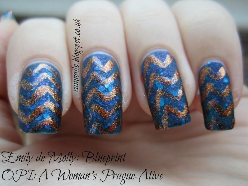 Freehand Chevron nail art by Emma