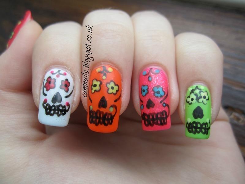 Mexican Sugar Skulls nail art by Emma