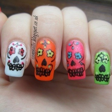 Mexican Sugar Skulls nail art by Emma