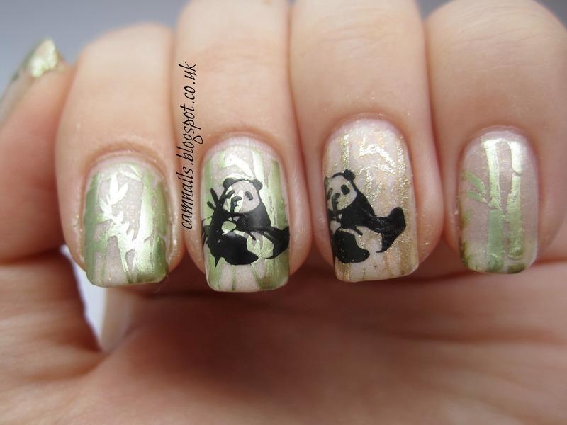 Panda Stamping nail art by Emma