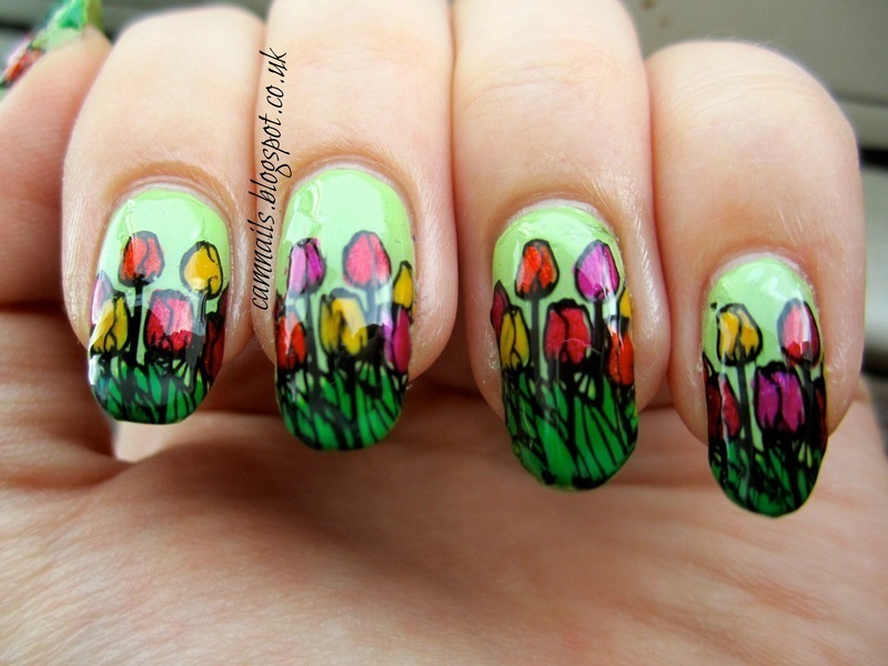 Tulip Stamping Decals nail art by Emma