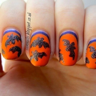 Textured Bats nail art by Emma