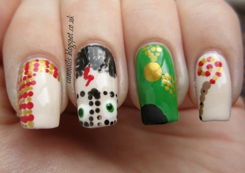 Dotty Harry Potter nail art by Emma