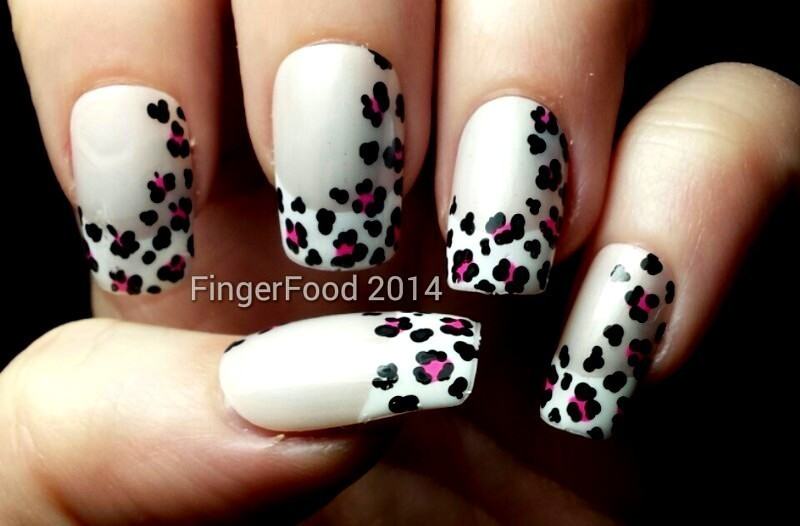 Leopard Print French nail art by Sam