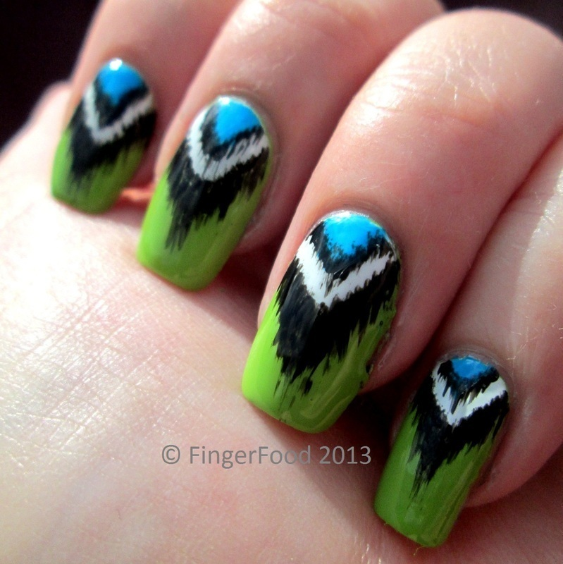 Half Moon Ikat nail art by Sam