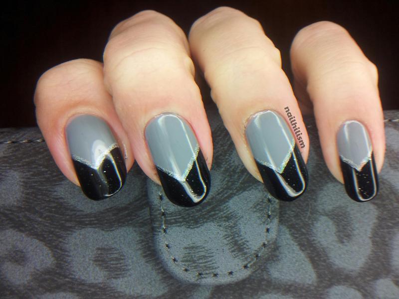 Shades of Grey nail art by Harriet Lockett