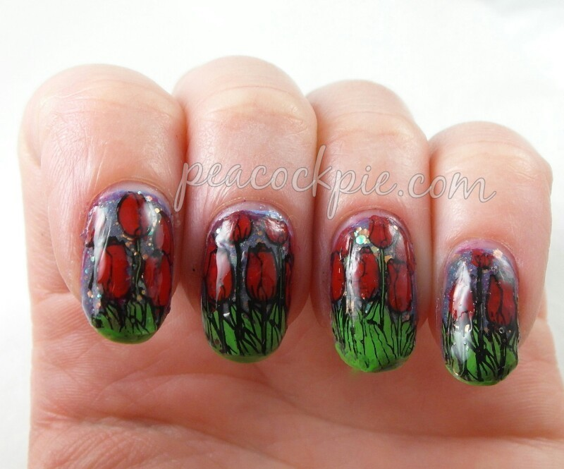 Tulips nail art by Serra Clark