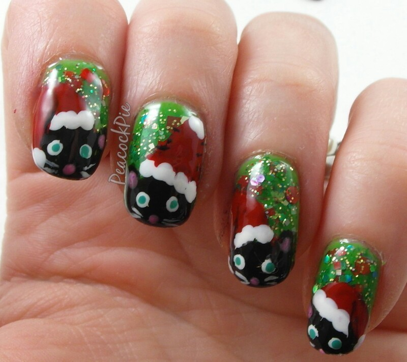 Santa Cats! nail art by Serra Clark