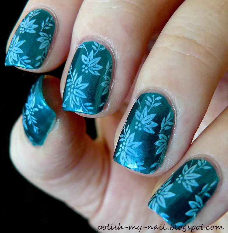 Stamped flowers nail art by Ewlyn