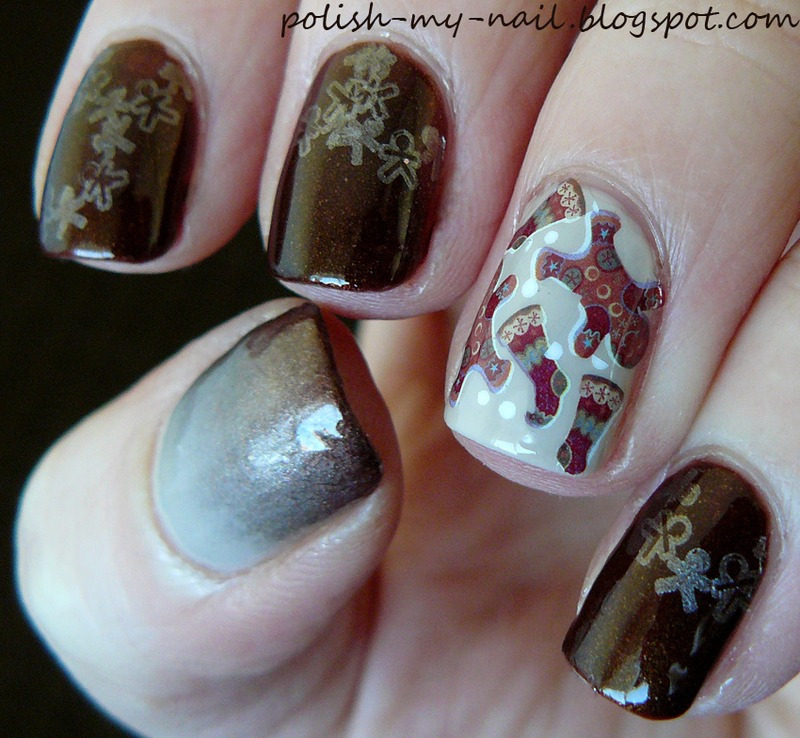 Gingerbread cookies nail art by Ewlyn