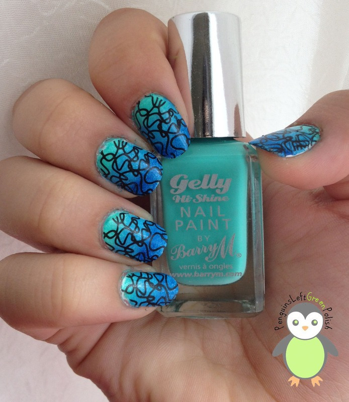 Gradient Stamping nail art by Nada