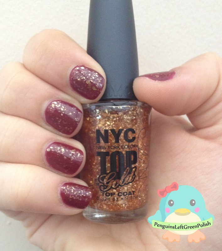 Gold over deep red nail art by Nada