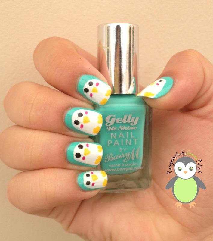 Penguins! nail art by Nada