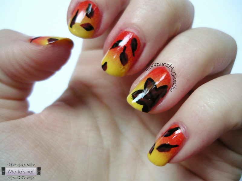Autumn Leaves nail art by Maria