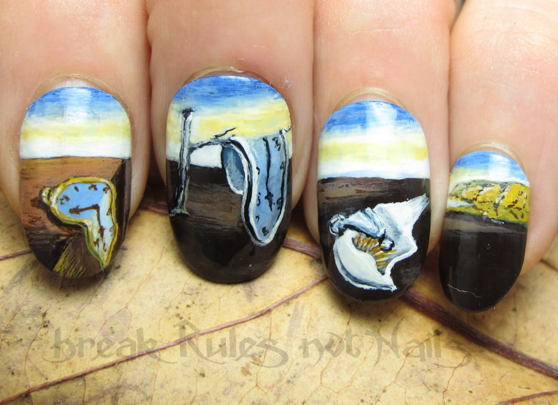 Salvidor Dali inspired nail art by Michelle