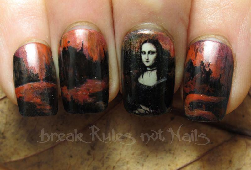 Goth Mona Lisa nail art by Michelle