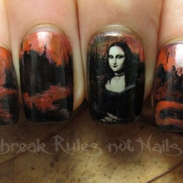 Goth Mona Lisa nail art by Michelle