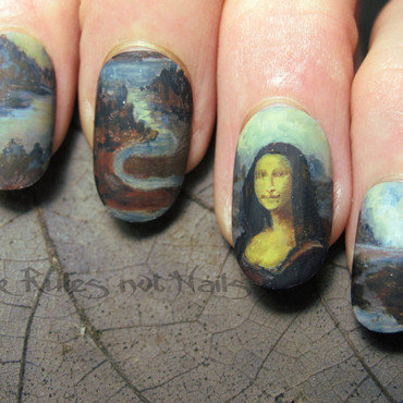 Mona Lisa nails nail art by Michelle
