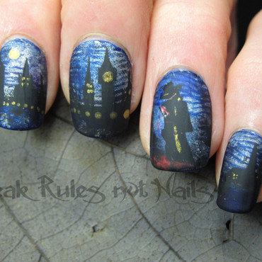 Jack the Ripper inspired nails nail art by Michelle