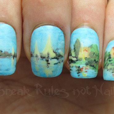 Monet inspired nails nail art by Michelle