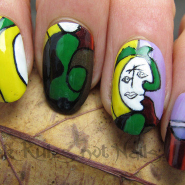 Picasso inspired nails nail art by Michelle