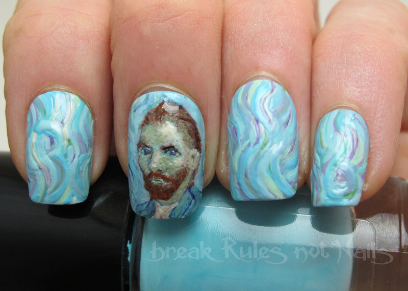 Van Gogh inspired nails nail art by Michelle