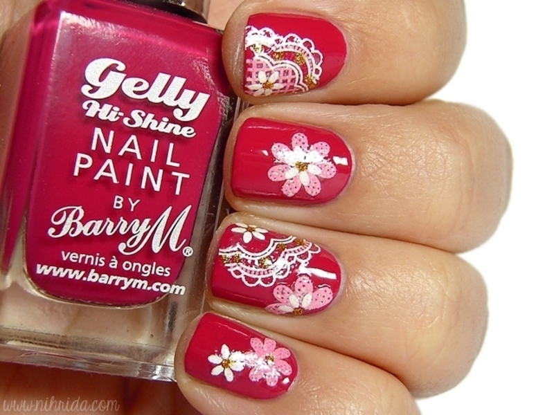 Pomegranate Flowers nail art by nihrida