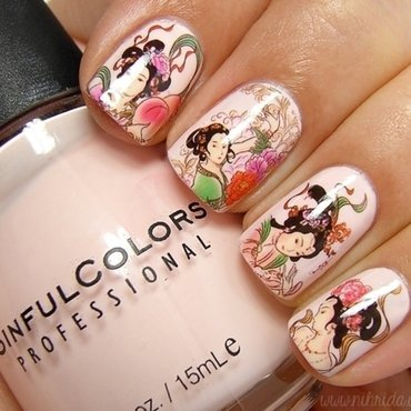 Chinese Decals Manicure nail art by nihrida