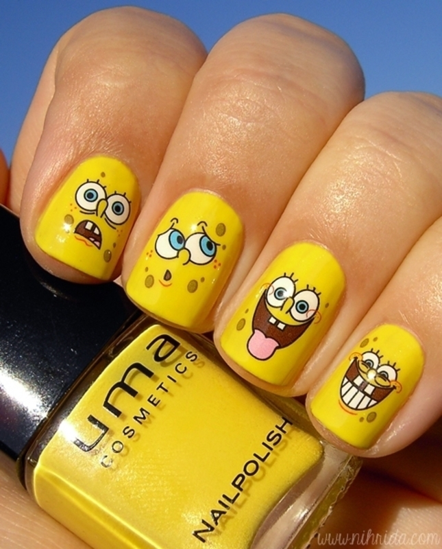 Spongebob Squarepants Mani nail art by nihrida