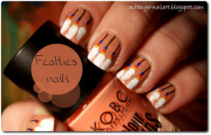 Feather nails nail art by Gdańsk