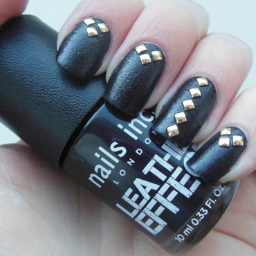 Leather & Studs nail art by Lyndsey