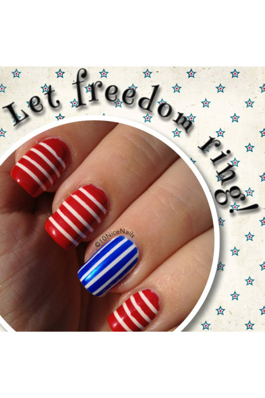 July 4th nail art by Martha 10NiceNails